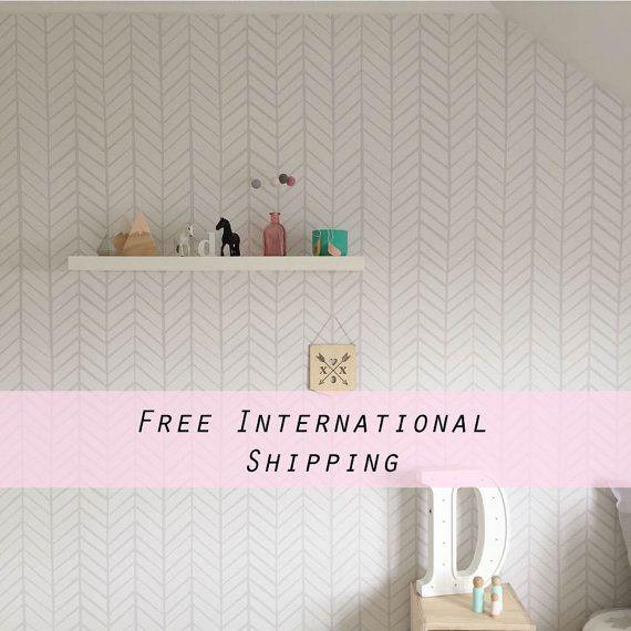 Removable Wallpaper, Herringbone wallpaper, Herringbone, Peel&Stick, Reusable…