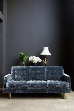 Black Wall. Navy velvet plush couch. | The Good Hacienda | curated by Hilary