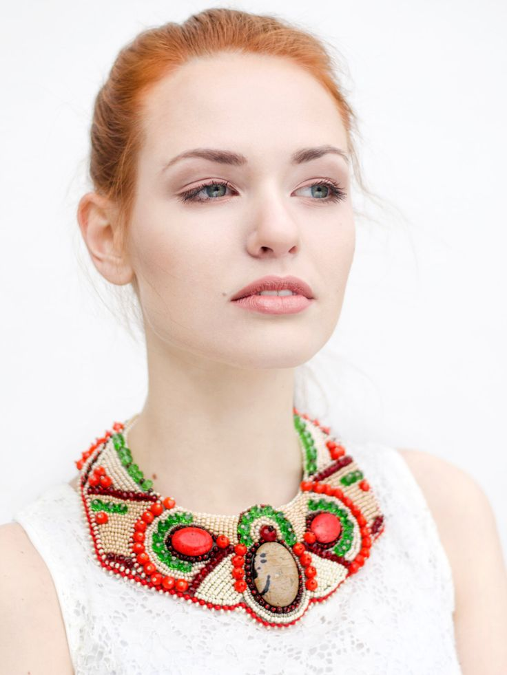Red statement necklace - berry necklace - beaded necklace - Chinese dragon jewelry/ women gemstone necklace/ trendy necklace/ funky necklace by RasaVilJewelry on Etsy https://www.etsy.com/listing/241440904/red-statement-necklace-berry-necklace