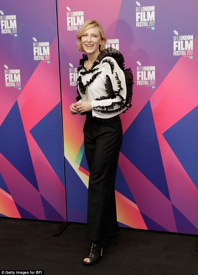 Turning heads: She's never been afraid to play around with fashion. And Cate Blanchett showed off her quirky style sense in all its glory at the BFI London Film Festival on Friday