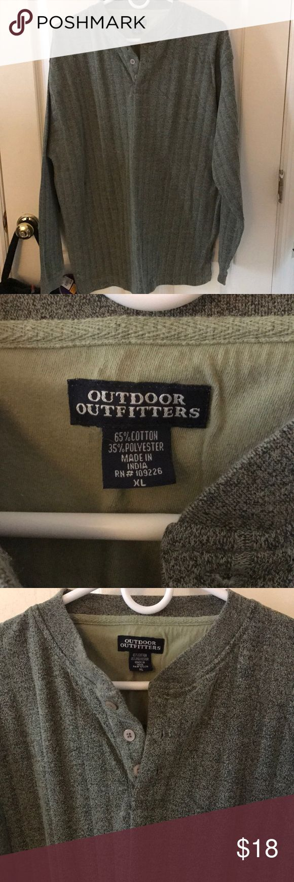 🦈🎈Men's XL shirt outdoor outfitters New without tags men's greenish XL long sleeve shirt from outdoor outfitters 65% cotton 35% polyester. Please check out my closet for more clothes, makeup and one of a kind handcrafted jewelry. Bundle and save! outdoor outfitters Shirts Casual Button Down Shirts