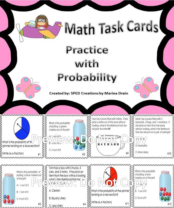 20 task cards for practice with probability. Awesome resource for math centers and test prep.