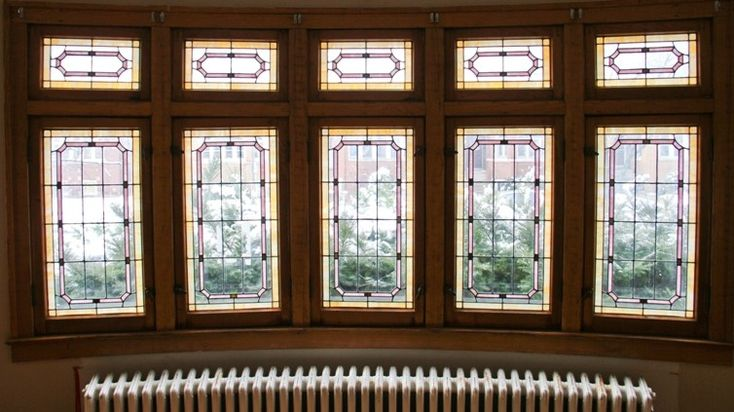 1930s American Craftsman Style Bungalow Interior Leaded Art Glass Transom Windows