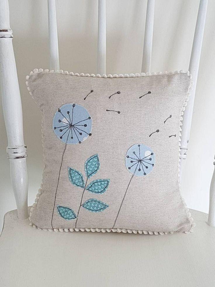 dandelion cushion, dandelion pillow, botanical cushion cover, applique cushion, applique pillow, decorative cushion, decorative pillow,