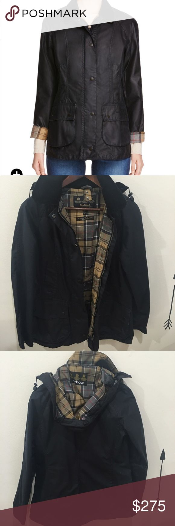 Barbour Navy Beadnell Waxed Jacket Purchased from Bloomingdale's but never worn because doesn't really fit my wardrobe.  I'm including the hood I purchased separately for $50 from the Barbour store here on Madison Avenue.  1st and last pic taken from Bloomingdale's website.  No trades.. Barbour Jackets & Coats
