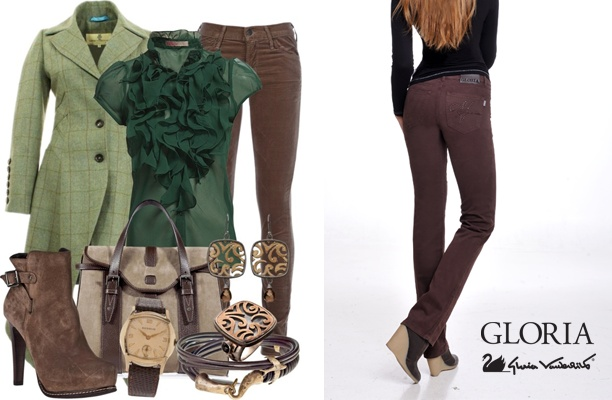 Καφέ παντελόνι GLORIA
