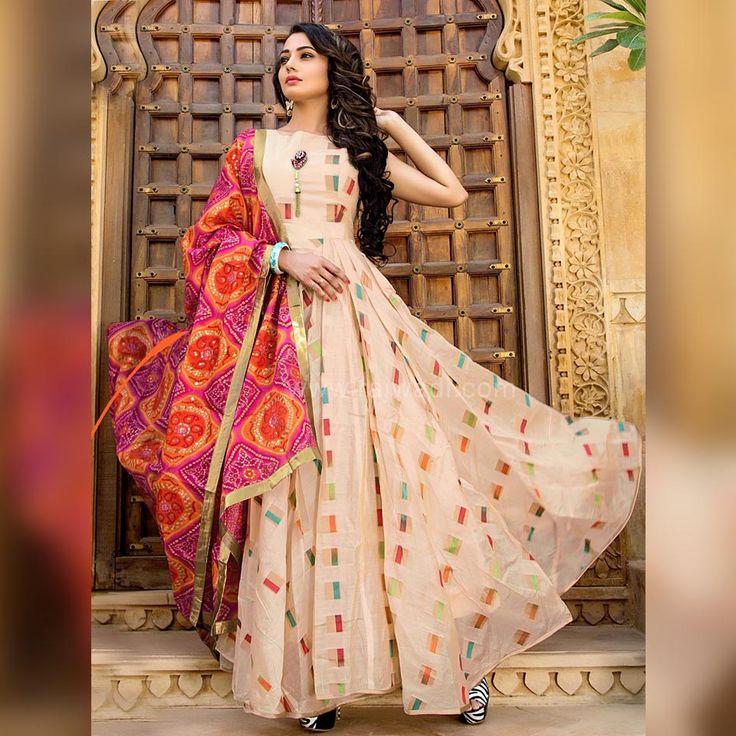 Cream Flared Anarkali Suit with Contrast Dupatta #rajwadi #anarkalisuit #designer #printed #ethnic #indowestern #gownstyle
