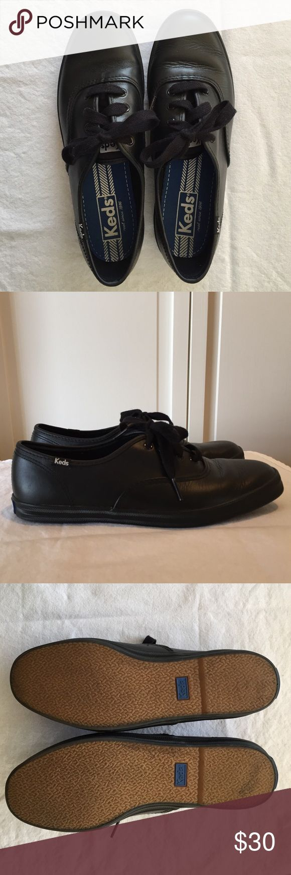 Keds Champion-Leather. Black. Size 7.5. Worn once Black leather sneaker. Rubber calendar outsole for excellent traction. Soft fabric lining, comfortable arch support, a wedge that hugs your heel and more wiggle room for your toes. Weight: 8 oz Keds Shoes Sneakers