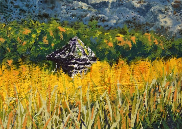 Canola is captivating...  this encaustic makes me feel the heat of late summer sun. www.gaylehalliwell.com
