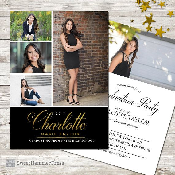 Multiple Photos Graduation Announcement Formal Graduation