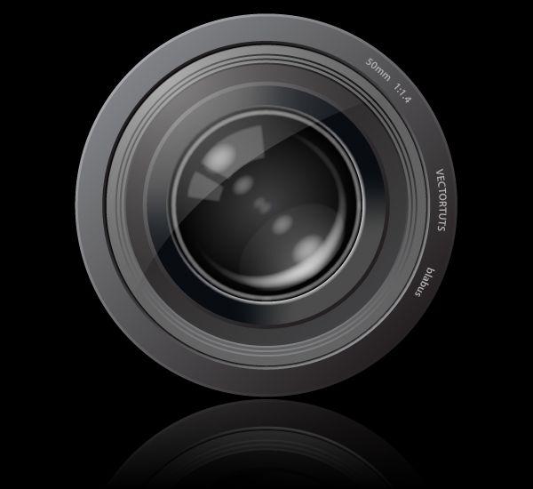 fotolens tutorial voor het icoon over fotografie; gemakkelijk om een fototoestel te maken vooral door de glans/weerspiegeling.