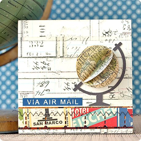 3-D globe - awesome idea for travel-themed or back to school cards