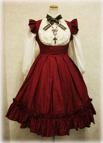 Gothic red satin material jumper skirt
