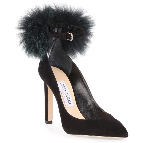 South 100 Black Suede Pom-Pom Pump (13.469.355 IDR) ❤ liked on Polyvore featuring shoes, pumps, black, black pointy-toe pumps, pom pom pumps, pointed toe high heel pumps, black shoes and jimmy choo pumps