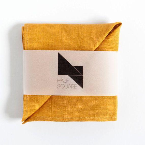 Mustard yellow pocket square  unisex fashion by HalfSquares