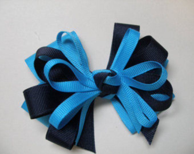 Navy Blue Turquoise Hair Bow School Uniform Layered Boutique
