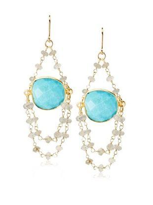 62% OFF Rachel Reinhardt Turquoise Bezel Swag Chandelier Earring