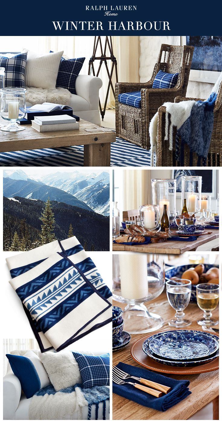 The Ralph Lauren Home Winter Harbour collection mixes rustic furniture, luxe shearling and artisinal accents to create a coastal sanctuary in classic indigo and cream.