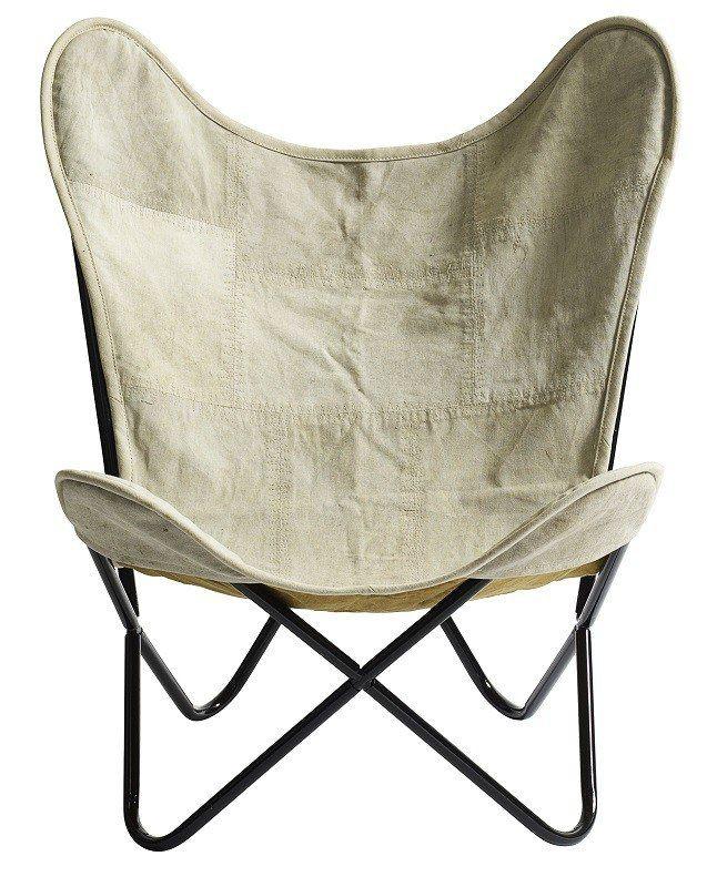 Nordal Butterfly Loungestol - Nordal er skaberen bag denne smukke Butterfly loungestol. Loungestolen er udført i genbrugt kanvas, der er med til at give stolen et rustik udtryk.