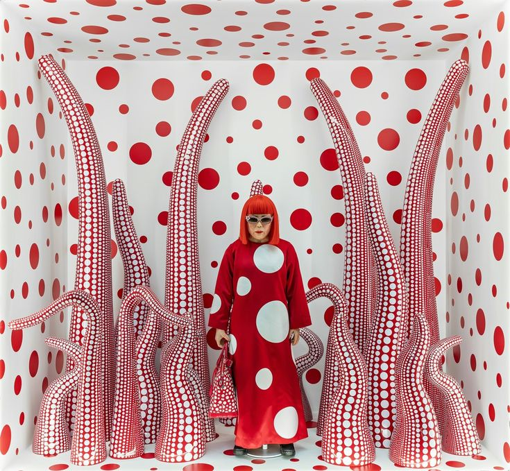 "Installation view of Kusama in Infinity Mirror Room - Phalli's Field, at her solo exhibition ""Floor Show"" at R. Castellane Gallery, New York"