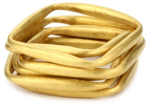 Kevia Brushed Gold Square Stacking Ring Set kevia. $150.00. Each handmade ring is unique. Made in India