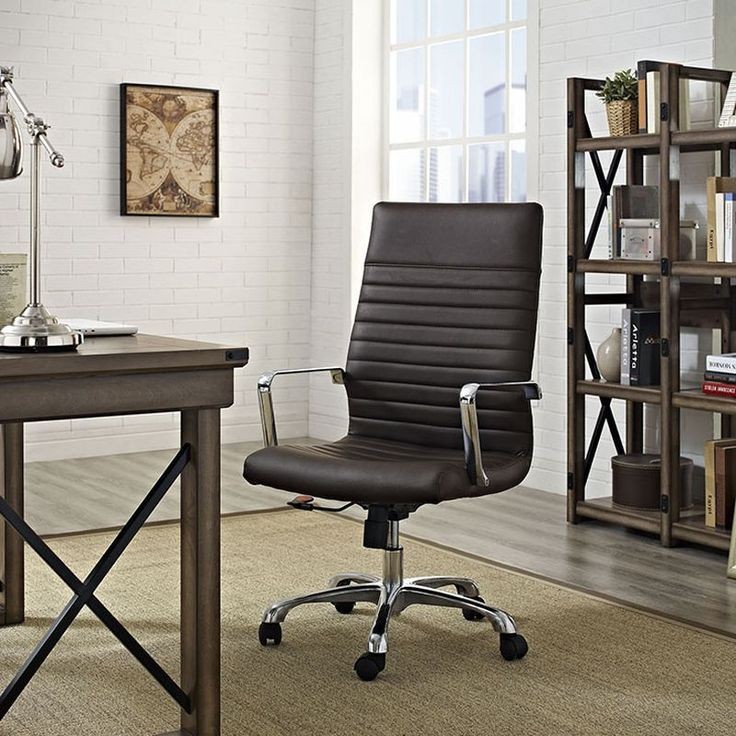 Modern Office Decor For Home Office Space Brown Leather Office Chair Find This And