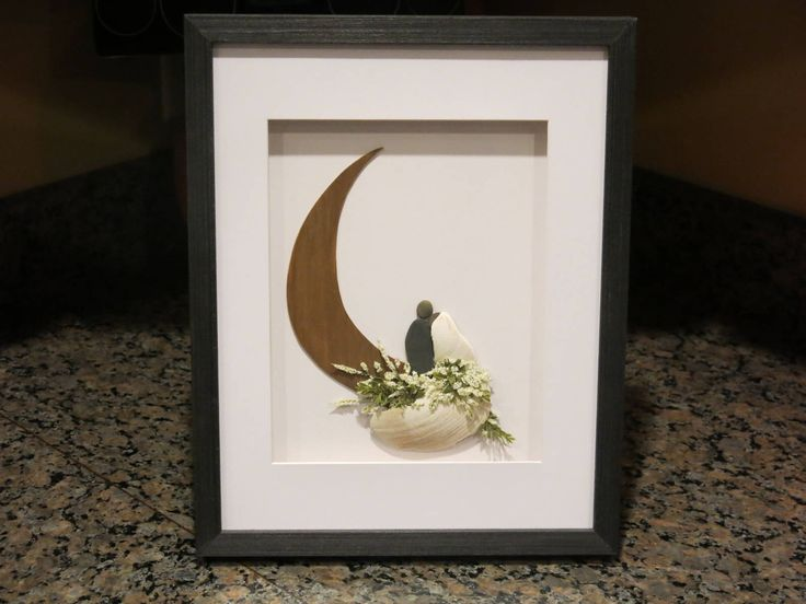 """Original Pebble Art Design,""""To The Moon & Back"""",Pebble Art Wedding,Pebble Art Couple,Wedding Gift,Bridal Shower Gift,Art by M.McGuinness by SketchedInStoneArt on Etsy https://www.etsy.com/listing/566021845/original-pebble-art-designto-the-moon"""
