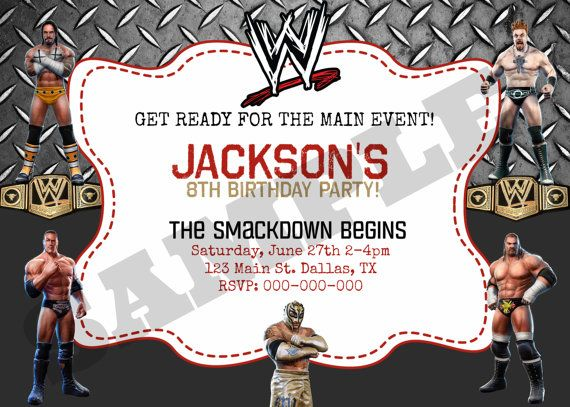Wwe Wrestling Birthday Invitation By Kaitlinskardsnmore On Etsy