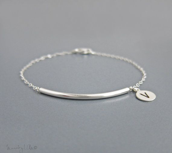 Bar Bijoux in Silver  Personalized Silver Bar by MuseByLAM on Etsy, $32.00