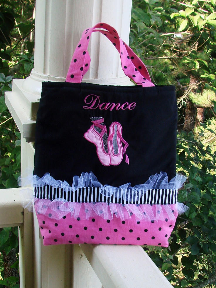 Abby has this bag with Lime green and Fuchsia trim. Very cute for toting her tap shoes.