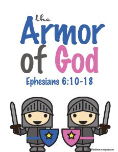Get this #free Armor of God #printable pack from The Life in Bloom.  These free Bible printables have both boy (blue) and girl (pink) pages.