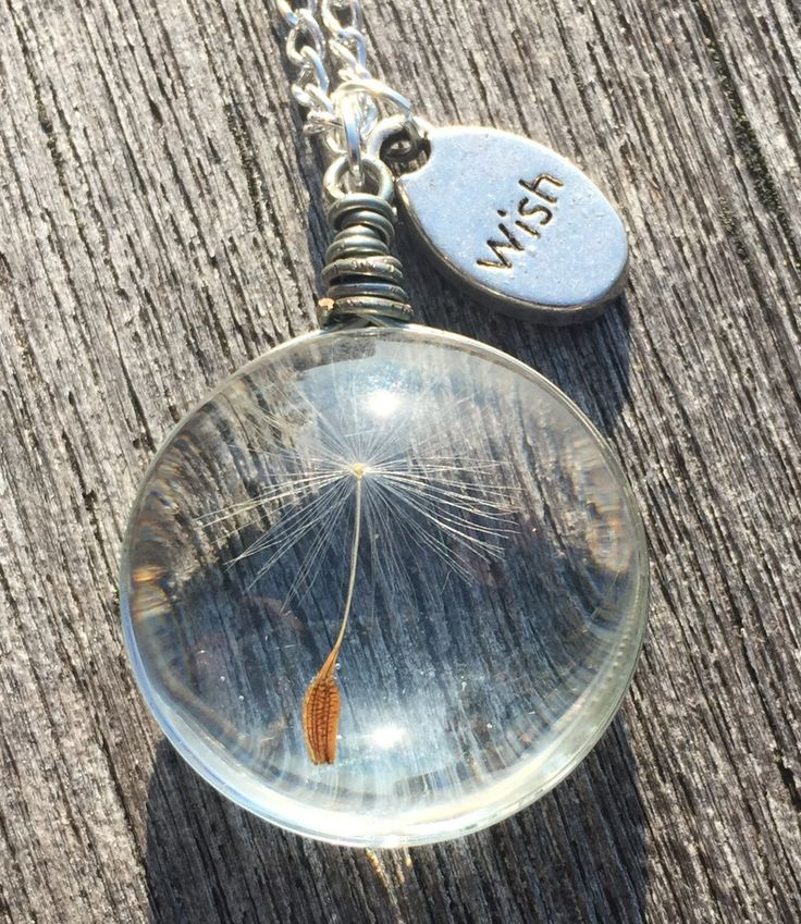 "Glass (Wish) Pendant Necklace with Real ""Dandelion Seed"" Jewelry"