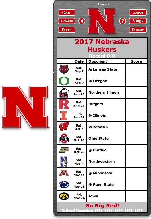 Get your 2017 Nebraska Huskers Football Schedule App for Mac OS X - Go Big Red! - National Champions 1997, 1995, 1994, 1971, 1970 Download yours at: http://2thumbzmac.com/teamPages/Nebraska_Huskers.htm