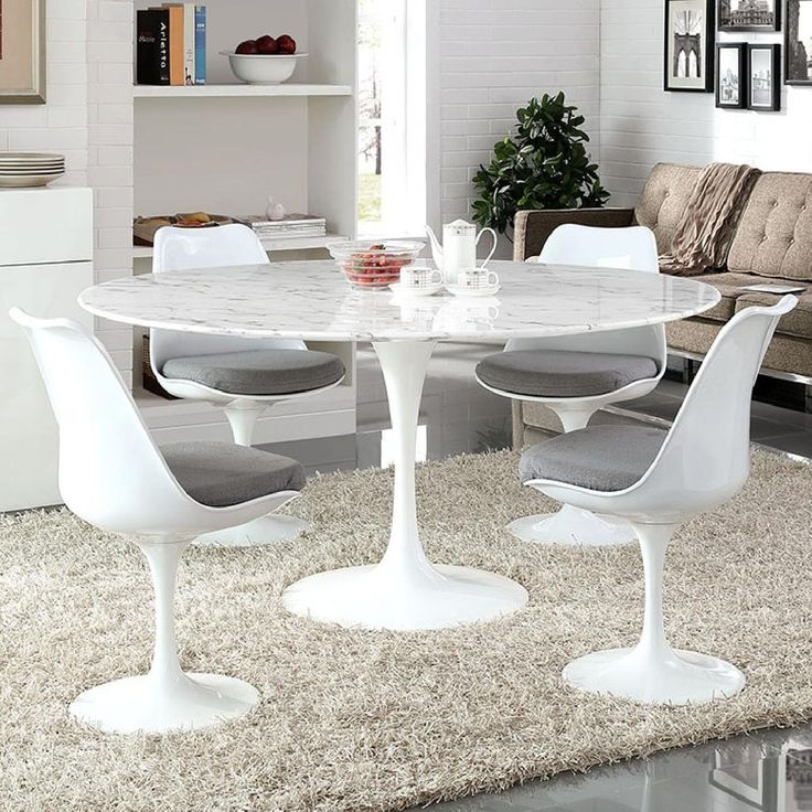 Lex Mod Lippa Faux Marble Dining Table In White