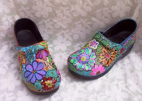 Dansko Clog Shoe Womens 40 Hand Painted Upcycled 1OFAKIND Xlant   eBay