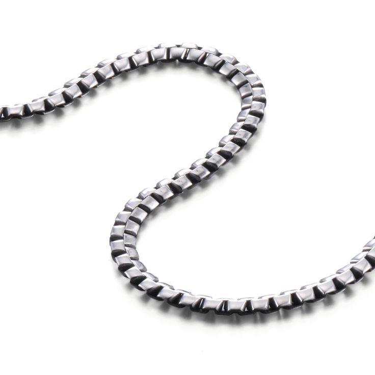 R&B Schmuck Herren Halskette Edelstahl - Kollektion Bad Ass - Serpent Stil (6mm, Silber, Schwarz): 23,90€