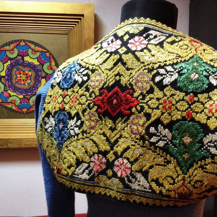 #Heritage by #SANDRAGALAN.  #Bespoke #bolero #design made of #vintage #Romanian #handmade #embroidery