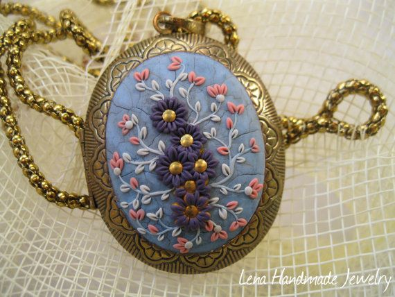Gold Handmade Locket Polymer Clay Medallion by StoriesMadeByHands