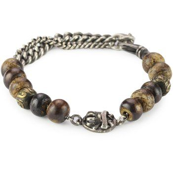 M.Cohen Handmade Designs Bone Beads, Silver Chain and Detail Bracelet