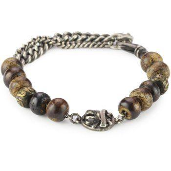 M.Cohen Handmade Designs Bone Beads, Silver Chain and Detail Bracelet