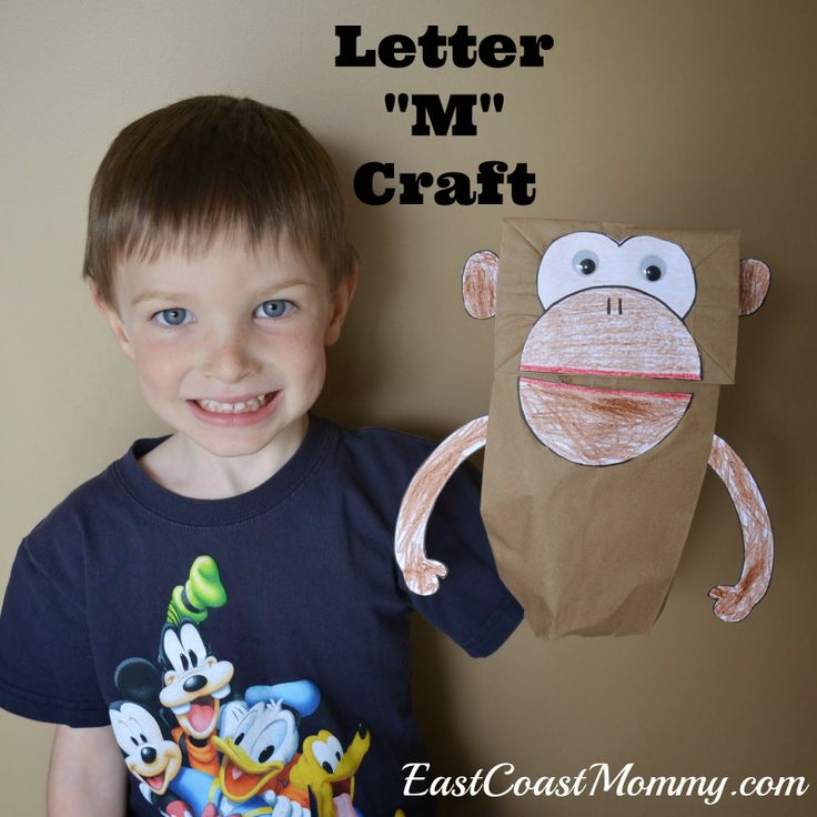 Alphabet Craft - Letter M... including a free printable template for the monkey paper bag puppet and free letter m printing practice printable