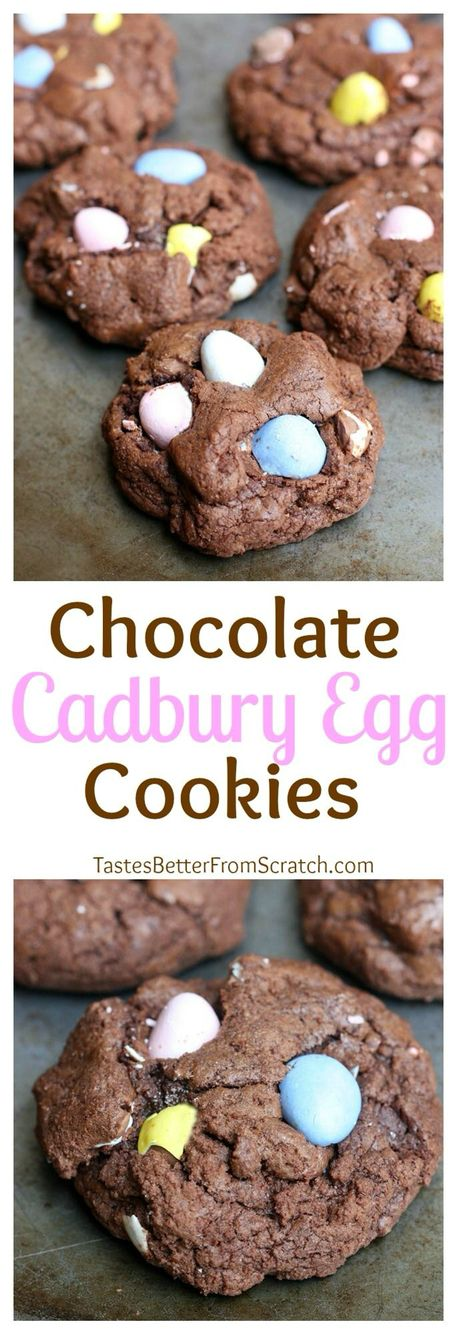 Thick and chewy Chocolate Cadbury Egg Cookies are amazing and fun for an easy Easter treat. Recipe from Tastes Better From Scratch