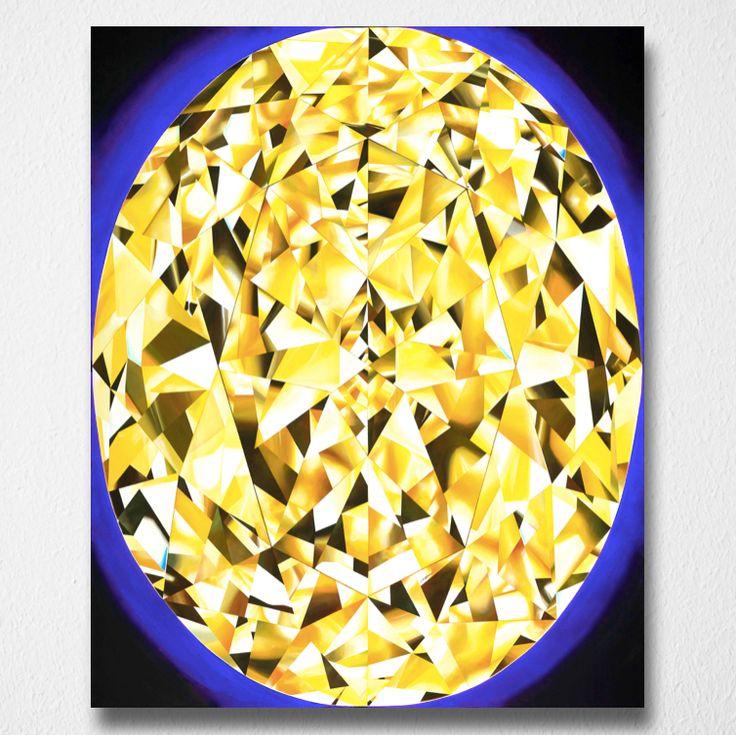 Portrait of Luminosity (Canvas print) by Reena Ahluwalia. Fancy Vivid Yellow Oval Cut Diamond. Starts from $345.00. #FancyColorDiamonds #DiamondPaintings #DiamondArt #ReenaAhluwalia #YellowDiamond #OvalCutDiamond #Oval #OvalCut