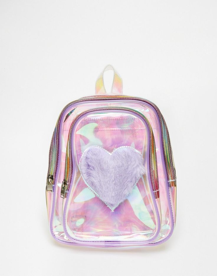 Image 1 of UNIF Trixie Perspex Backpack with Faux Fur Heart