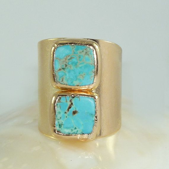 Turquoise Ring, December Birthstone, Statement Cocktail Turquoise Ring, Gemstones Ring, 24K Gold Adjustable Wide Band Ring. Beautiful & Unique Turquoise ring. Two square gemstones soldered over a wide band ring. Simple... with a great statement look ! Perfect accessory for everyday look or dressy outfit . HIGH QUALITY 24k gold platting over brass base - nickel free. Each piece is MADE BY HAND soldering technique. Size- main motif - Approximately 0.9 inches (2cm) ring - adjustable ******...