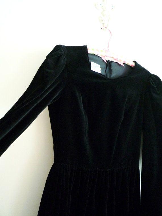 Vintage Laura Ashley Black Velvet Dress by ShantyIrishVintage