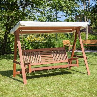 Traditional 3 Seater Wooden Garden Swing Seat with Coloured Canopy - Cream