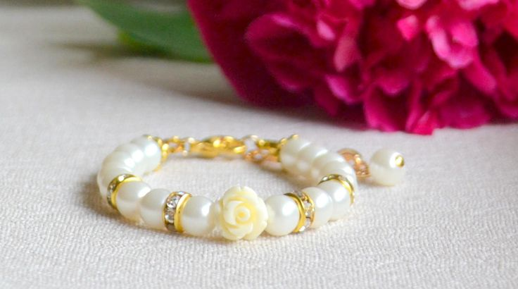Flower girl bracelet Rose bracelet Flower girl gift Ivory pearl gift Pearl bracelet Rose jewelry Ivory wedding Gold and ivory bracelet by SparklingWeddingGift on Etsy