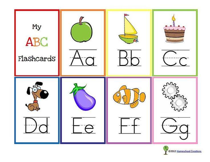 A set of A-G alphabet flash cards.