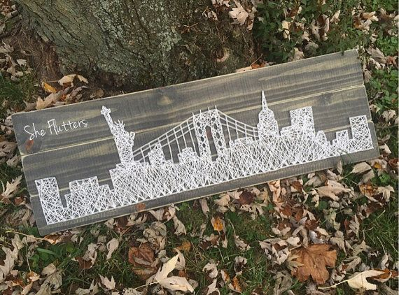 NYC, New York, City Skyline, Statue of Liberty, Times Square, Rustic and Weathered Style String Art Wooden Piece- Made to Order